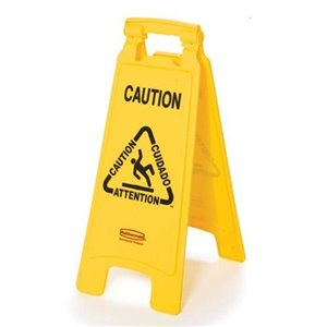 """Floor Sign w/Multi-Lingual Caution Imprint 2-Sided 25""""H, 6/EA"""