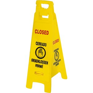 """Floor Sign w/Multi-Lingual """"Closed"""" 4-Sided 37""""H - Yellow, 6/EA"""