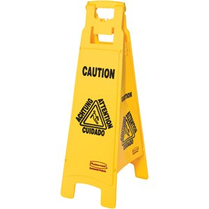 """Floor Sign w/Multi-Lingual """"Caution"""" 4-Sided 37""""H - Yellow, 6/EA"""