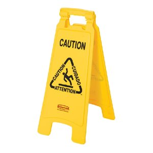 """Floor Sign w/""""Caution Wet Floor""""English/French 2-Sided 25""""H, 6/EA"""