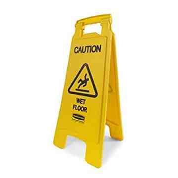 "Floor Sign w/""Caution Wet Floor"" Imprint 2-Sided 25""H, 6/EA"