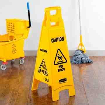 "Floor Sign w/""Caution Wet Floor"" 4-Sided 37""H - Yellow, 6/EA"