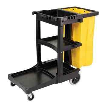 Janitor Cart w/Zippered Yellow Vinyl Bag - Black, 1/EA