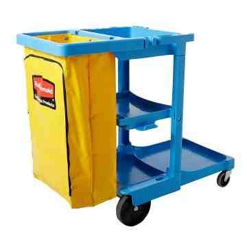 Janitor Cart w/Zippered Yellow Vinyl Bag - Blue, 1/EA