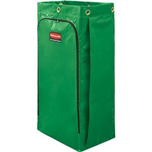 Janitorial Cleaning Cart Vinyl Bag - 34G High Capacity - Green[9T93/9T93-01], 4/EA