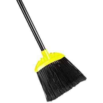 Jumbo Smooth Sweep Angle Broom Black Metal Handle - Black, 6/EA