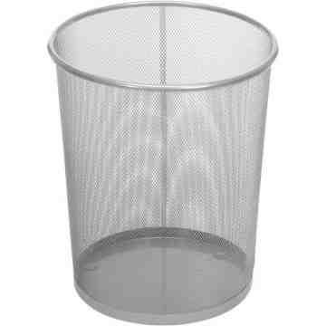 Open Top Round Mesh Wastebasket 5G-Silver ,  6 / CS