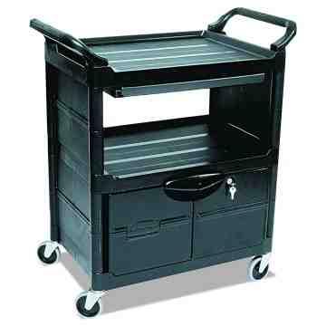 "Utility Cart w/Lockable Doors/Sliding Drawer/4""Swivel Casters 3-Shelf Capacity 200lb - Black, 1/EA"