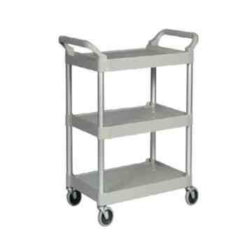"Utility Cart w/4""Swivel Casters/Aluminum Uprights 3-Shelf Capacity 200lb - Platinum, 1/EA"