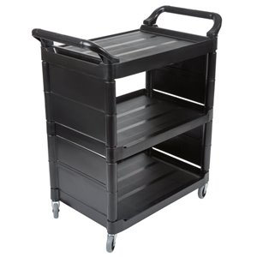 "Utility Cart w/3"" Swivel Caster/End Panels 3-Shelf Capacity 150lb - Black, 1/EA"