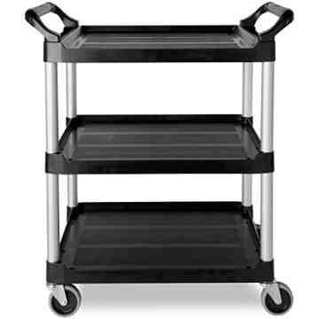 "Utility Cart w/4""Swivel Casters/Aluminum Uprights 3-Shelf Capacity 200lb - Black, 1/EA"