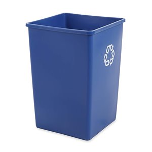 Square Waste Recyling Container 35G - Blue, 4/EA