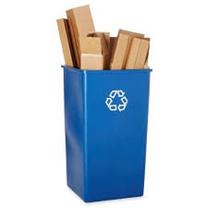 Square Waste Recycling Container 50G - Blue, 4/EA