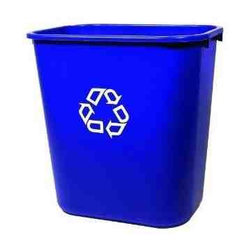 Wastebasket Vanity 13 5/8qt - 12.9L w/Recycling - Blue, 12/EA
