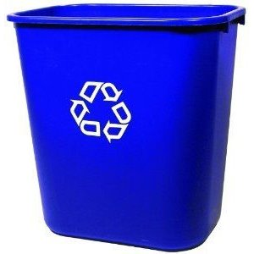 Wastebasket Vanity 41 1/4qt - 39L w/Recyling - Blue, 12/EA