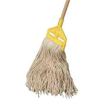 "Wet Mop - Cut End Cotton Mop Combo No.16 w/54"" Handle - White/Yellow, 10/EA"