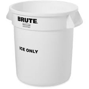 """Brute Branded """"ICE ONLY"""" Container 10G w/o Lid - White, 6/EA"""