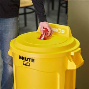 Brute Lid w/Hole Bottles/Cans 32G - Yellow, 6/EA