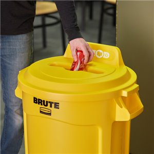 Brute Lid w/Hole Mixed Recycling 32G - Yellow, 6/EA