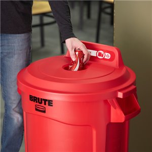 Brute Lid w/Hole Bottles/Cans 32G - Red, 6/EA