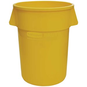 Brute Container Straightwall Unbrand 55G - Yellow, 3/EA