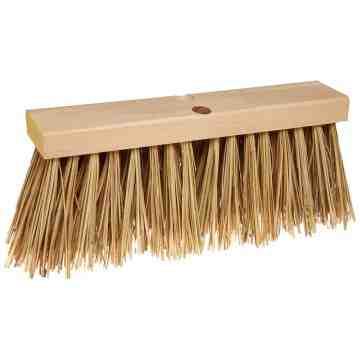 "Wood Block 16"" Street Broom Palmyra Fill - Brown, 4/EA"