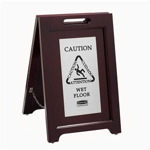 Exec Wooden Multi-Lingual Caution Sign 2-Sided - Silver, 1/EA
