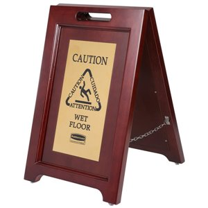 Exec Wooden Multi-Lingual Caution Sign 2-Sided - Gold, 1/EA