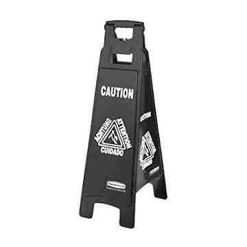 Exec Multi-Lingual Caution Sign 4-Sided - Black[6114], 6/EA