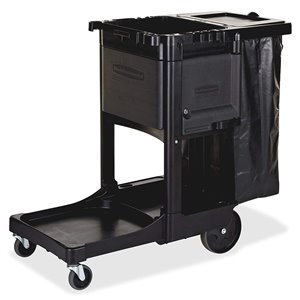 Executive Janitor Cleaning Cart w/Locking Cabinet/Trash Cover - Black, 1/EA