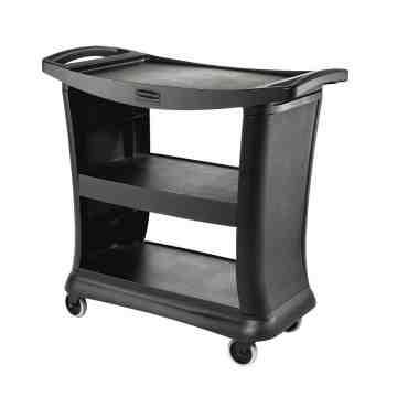 Executive 3-Shelf Service Cart w/Quiet Caster - Black, 1/EA
