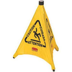 """Safety Cone Pop-Up Trilingual 30"""" Caution Wet Floor - Yellow, 12/EA"""