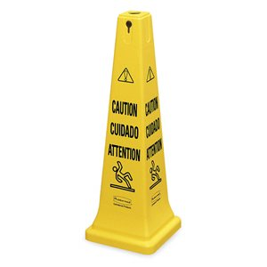 """Safety Cone 36"""" w/Multi-Lingual """"Caution"""" Imprint - Yellow, 5/EA"""