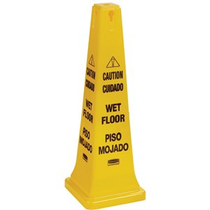 """Safety Cone 36"""" Eng/Spanish Caution Wet Floor Imprint - Yellow, 5/EA"""
