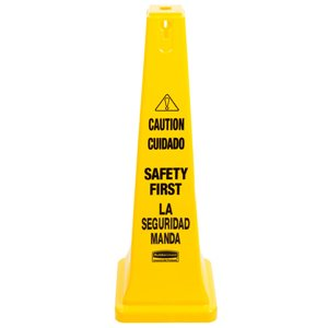 """Safety Cone 36"""" Eng/ Spanish Caution Safety First Imprint, 5/EA"""