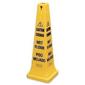 "Safety Cone 25"" w/ Tri-Lingual ""Caution"" Imprint w/Wet Floor Symbol - Yellow, 6/EA"