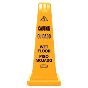 """Safety Cone 25"""" Eng/Span """"Caution, Wet Floor"""" Imprint - Yellow, 6/EA"""