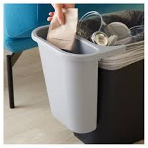 Side Bin Recycling Container Fits 2956/2957/2543 - Gray, 12/EA