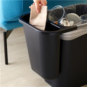 Side Bin Recycling Container Fits 2956/2957/2543 - Black, 12/EA