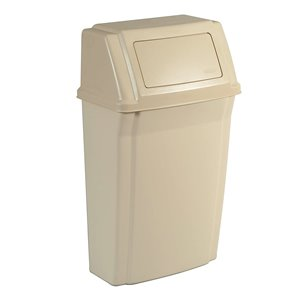Slim Jim Wall Mounted Waste Container 15G - Beige, 1/EA