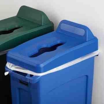Slim Jim Vertical Lid Mixed Recycling - Blue, 4/EA
