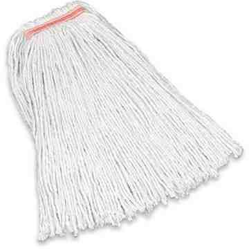 "Premium 4Ply Cut End Cotton Mop 16oz 1"" - White, 12/EA"