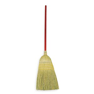 """Corn Broom Standard 1 1/8""""Dia Stained/Lacquered Handle - Orange, 12/EA"""