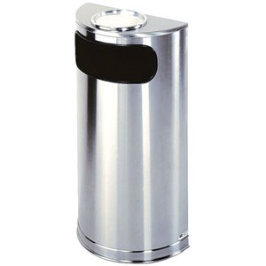 Executive Metalic Steel Container Half Round Open Top, Stainless ,  1 / EA