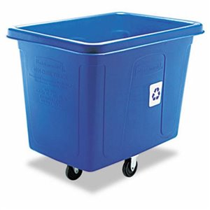Cube Truck 500lb/16cuft w/Recycle - Blue, 1/EA