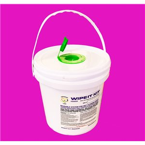 Wipe-It Kit Disinfecting Wipes, Wet-Wipe Bucket, 6 Rolls / 125 Sheets Per Roll, Add Your Own Chemical
