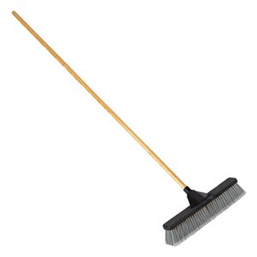 "Push Broom - 18"" MS Bristle - Resin Block & 15/16"" Handle Unassembled - Black, 4/EA"