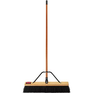 "Push Broom - 36"" HD PP Bristle - Wood Block & 1 1/8"" Lacquered Handle Assembled - Wood, 4/EA"