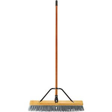 "Push Broom - 24"" Medium PP Bristle - Block & Handle Assembled - Wood , 4/EA"
