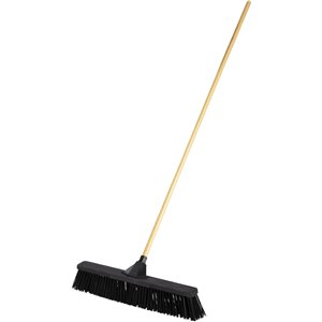 "Push Broom - 24"" HD PP Bristle - Block & 15/16"" Lacquered Handle Unassembled - Black, 4/EA"